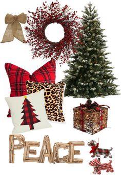 plaid, leopard, natural Christmas scheme