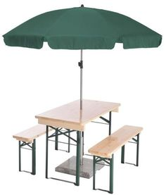 1 Table and 2 Benches. Natural or nut brown with green frames. 1 Set of Floor Protectors 1 Round Umbrella 1 Hole Drilled in Middle of Table 1 Rubber Grommet 3 Year Frame Warranty Price includes shipping! Beer Garden, Garden Table, Outdoor Folding Table, Assembly Table, Restaurant Furniture, High Quality Furniture, Types Of Wood, Custom Furniture, Garden Furniture
