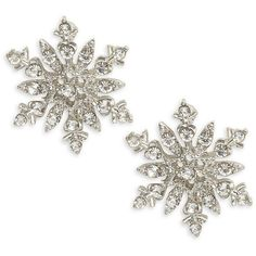 Design Lab Lord & Taylor Christmas Snowflake Stud Earrings (65 PLN) ❤ liked on Polyvore featuring jewelry, earrings, silver, silvertone earrings, special occasion jewelry, holiday jewelry, rhinestone stud earrings and snowflake jewelry