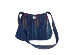 Small, Colorful stripes blue denim shoulder bag