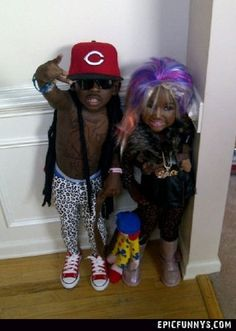 Lil' Wayne and Nicki Minaj @Amber Campbell your future kids on halloween