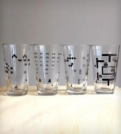 Set of 4 Retro Videogame Pint Glasses by Crawlspace Studios on Scoutmob Shoppe