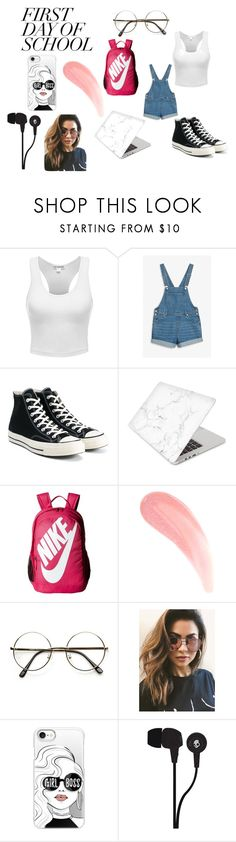 """""""first day of school"""" by kaitlyn-974 ❤ liked on Polyvore featuring Monki, Converse, Recover, NIKE, MINKPINK, Casetify and Skullcandy"""