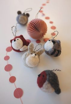 Needle felting – Christmas ornaments - DIY and Crafts Felt Christmas Decorations, Felt Christmas Ornaments, Christmas Crafts, Xmas, Christmas Flowers, Crochet Christmas, Christmas Angels, Needle Felted Ornaments, Felted Wool Crafts