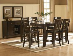 Crown Point 7Pcs Counter Height Dining Set 1372 (Counter Height Table,6 Counter Height Chairs) Adorn your dining area with Crown Point Collection. This grand scale casual dining in warm merlot finish