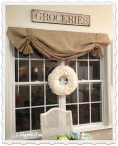how to DIY burlap window valance