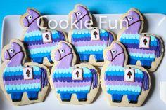Fortnite Llama Cookies Llama Birthday, Sons Birthday, Birthday Ideas, Royal Icing Cookies, Sugar Cookies, Cookie Cake Birthday, 9th Birthday Parties, Childrens Party, Cookie Decorating