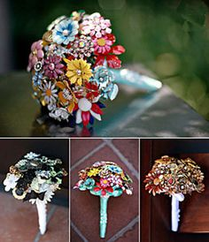 brooche Bouquets- love these-- rarely done- very different- and when done right is awesome