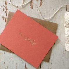 You're Pretty Notecard | gold foil on papaya