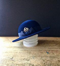 Vintage Halston Ladies Hat, Vintage Wool Hat, Navy Wool Hat, Wool Felt Hat, Dark Blue Hat, Womans Wool Hat, 1960's Ladies Hat, Feather Hat by RushCreekVintage on Etsy