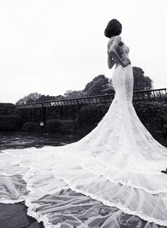 Elegant, classic and beautiful our mermaid wedding dress has glamorous embroidered lace with a colossal and dramatic train made from layers and ruffles of tulle and vintage lace. Most Beautiful Wedding Dresses, White Wedding Gowns, Wedding Dress Sizes, Fabulous Dresses, Bridal Dresses, Galia Lahav Wedding Gowns, Prom Garters, Dream Wedding, Wedding Things