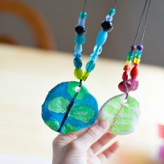 Clay Leaf Print Pendants with Beaded Cord