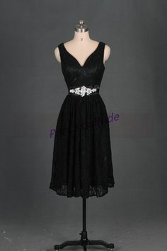 2014 short black lace bridesmaid dresses,tea length prom dresses with satin sash,cute v- neck dresses for wedding party. on Etsy, $129.00