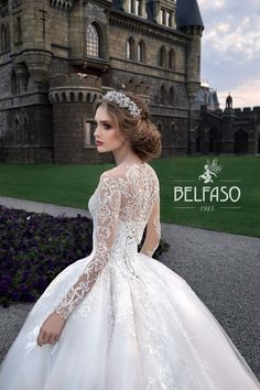 Amazing Embroidered Cinderella Chiffon Wedding Dress / Bridal Ball Gown with Long Sleeves and the Train by Belfaso Stunning Wedding Dresses, Wedding Gowns, Bridal Dresses, Flower Girl Dresses, Royal Princess, Lace Embroidery, Bridal Collection, Dress Making, Ball Gowns