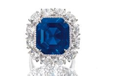 """The """"Imperial Kashmir,"""" a 17.16-carat step-cut unheated Kashmir sapphire and diamond ring, sold for a little more than $4 million at Sotheby's October, 2014 Hong Kong auction, setting a new world auction price-per-carat record for sapphires at $236,404 per carat."""