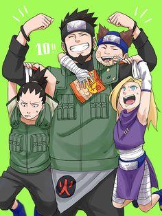 Shikamaru, Ino, Choji & Azuma (Team10)