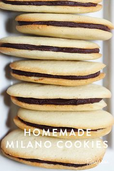 whenever I see these cookies I think of tea on the dining room table at Railroad Ave. Homemade Milano Cookies via Cookie Desserts, No Bake Desserts, Just Desserts, Delicious Desserts, Dessert Recipes, Yummy Food, Dessert Food, Crinkle Cookies, No Bake Cookies