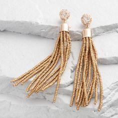 One of my favorite discoveries at WorldMarket.com: Gold Seed Bead Tassel Earrings