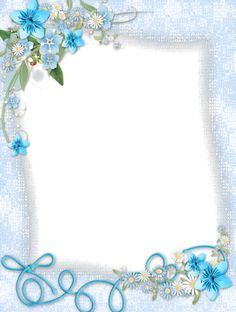 Blue border with corner flower accents