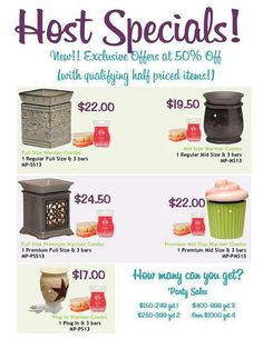 Host a party and you can get your Scentsy CHEAP! Contact me at http://sharoncollins.scentsy.us/contact