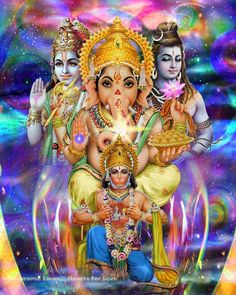 A powerful fine art print of Krishna, Shiva, Ganesha and Hanuman