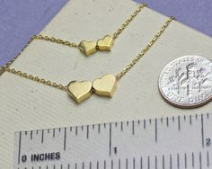 Gold heart necklace dainty hearts everyday by WendyShrayDesigns