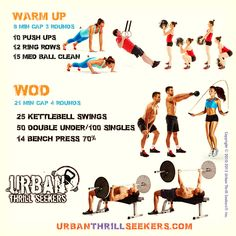 10 Push ups,12 Ring rows,15 med ball clean,25 Kettlebell swings,50 Double under…