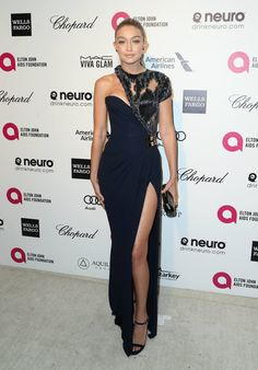 Gigi Hadid Photos - Model Gigi Hadid attends the Annual Elton John AIDS Foundation's Oscar Viewing Party on February 2015 in West Hollywood, California. - Arrivals at the Elton John AIDS Foundation Oscars Viewing Party — Part 4 Hollywood Fashion, Mode Hollywood, High Fashion, Hollywood California, Dress Fashion, Gigi Hadid, Bella Hadid, Oscar Dresses, Evening Dresses
