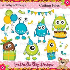 Party Monsters Paper Piecing Pattern, Cutting File, Scrapbook, Silhouette Studio, SVG File, MTC, SCAL, Pretty Grafik Design