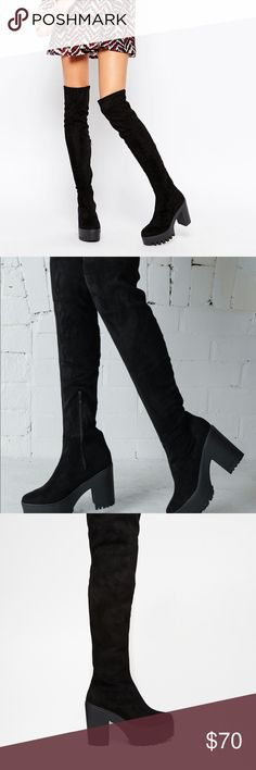 """asos over the knee boot Over-the-knee design Inner zip fastening Chunky tread Wipe light marks 100% Textile Heel Height: 11cm/4"""".                                                 Upper: 100% Textile, Lining Sock: 50% Textile, 50% Other Materials, Sole: 100% Other Materials. Extremely comfortable. Only worn once, very minor and unnoticeable scuffing on soles, will add photos. Asos Shoes Over the Knee Boots"""
