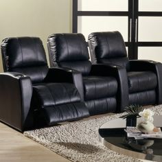 {3 Seat Leather Home Theater set Cinema Chairs, Man Cave Garage, Man Cave Basement, Home Theater Rooms, Home Theater Speakers, Home Theater Projectors, Garage Workshop, Basement Remodeling, Narrow Basement Ideas