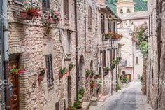 Wonderful decorated street in small town, Italy in sunny day royalty-free stock photo