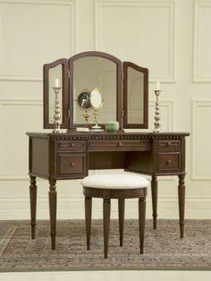 Powell Furniture Warm Cherry Vanity Set w/ Tri-Fold Mirror & Stool Antique Vanity, Wood Vanity, Vintage Vanity, Vanity Desk, Vanity Area, Antique Brass, Wood Bedroom, Bedroom Furniture, Home Furniture