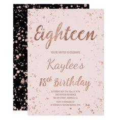 Faux rose gold confetti blush 18th Birthday Card