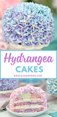 These Hydrangea Cakes are gorgeous miniature cakes that look like hydrangea flowers! You'll be surprised to learn how easy it is to make the pretty, colorful blossom design on the outside. The inside is beautiful, too, with swirls of multicolored cake! Delicious Cake Recipes, Yummy Cakes, Pretty Cakes, Beautiful Cakes, Mini Cakes, Cupcake Cakes, Cupcakes, Köstliche Desserts, Dessert Recipes