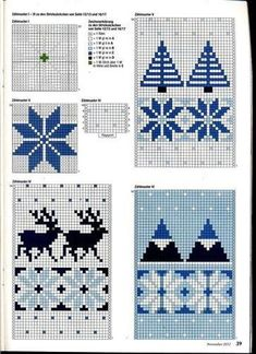 Anna 2012 № 11 4 Anna 2012 № these Christmas knitting charts are at the back of the magazine. Some super ideas in the whole mag tho'. Knitting Charts, Knitting Stitches, Knitting Patterns, Crochet Patterns, Hat Patterns, Fair Isle Chart, Fair Isle Pattern, Filet Crochet, Crochet Hats