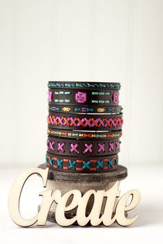 Cross stitch on leather! Embroider your own bracelet for a modern take on a traditional craft.