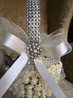 cream flower girl basket with brooch flower by TheCrystalFlower, $95.00