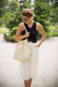 Love this outfit | Gal Meets Glam- Black & Cream