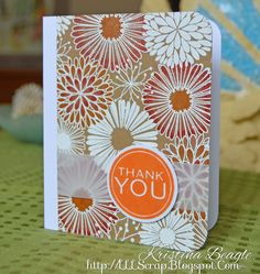 Thank You Card with Hero Arts. White embossing on Kraft card stock.