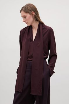 COS image 2 of Silk blouse with neck ties  in Burgundy