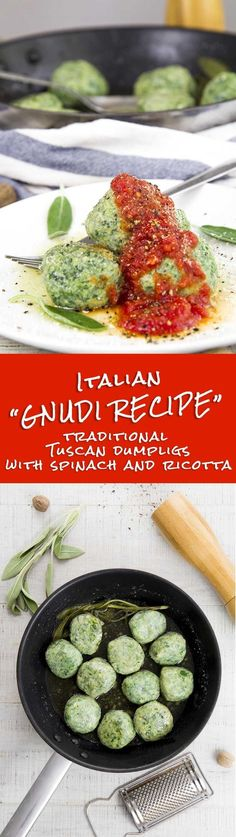 GNUDI RECIPE - Traditional Tuscan dumplings with spinach and ricotta - Gnudi is a classic Tuscan recipe, simple and delicious! The particularity of these Italian dumpling is the smoothness of the dough and the intense flavor thanks to the spinach Ricotta, Ricotta Gnudi Recipe, Spinach Ricotta, Tuscan Recipes, Italian Recipes, Crockpot Italian Sausage, Pasta Recipes, Cooking Recipes, Dumplings, Clean Eating Recipes