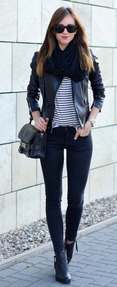 All black outfit...almost//black skinny jeans, black leather jacket, black crossbody, black infinity scarf and black and white striped tee.