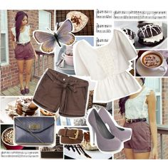 """""""brown shorts"""" by sasskia on Polyvore"""