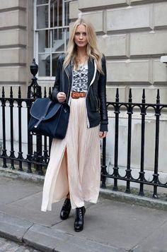 Poppy Delevinge does dressed up casual: leather jacket, floaty skirt, over-sized messenger bag