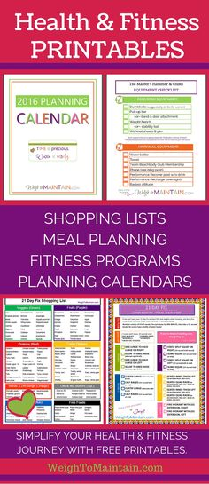 Free health and fitness printables at WeighToMaintain.com. Download PDF shopping lists, meal planners, fitness program workout sheets, planning calendars and more.