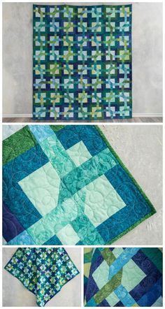 Puzzle Collage Sea Spray Expand-a-quilt kit by Craftsy. Easy puzzle quilt using Boundless Collage fabrics. #easyquiltpattern This is an affiliate link.