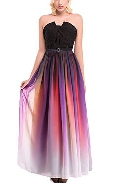 KKYRESS Womens Strapless Chiffon Formal Evening Ball Gown Prom Long Maxi Dress * Read more reviews of the product by visiting the link on the image.
