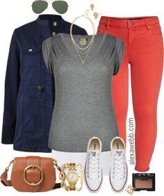 Plus Size Red Orange Jeans - Alexa Webb - Plus Size Red Orange Jeans – Plus Size Spring Summer Outfits – Plus Size Fashion for Women – - Orange Jeans, Orange Red, Moda Fashion, Curvy Fashion, Womens Fashion, Ladies Fashion, Feminine Fashion, Fashion Top, Cheap Fashion
