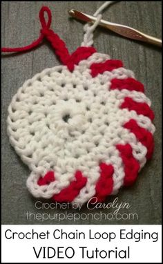 A DIY Crochet Tutorial on how to make an alternating, two color, crochet chain loop edging for my Peppermint Coasters! I really love making this and it would look great on other projects such as af…